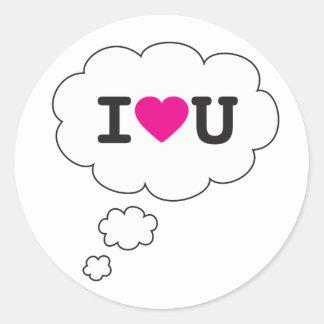 i heart you classic round sticker