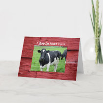 I Heart You Cow in Pasture Funny Valentine Card