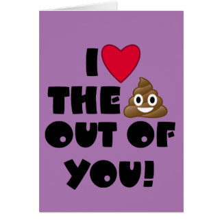 I Heart You Emoji Poo Card