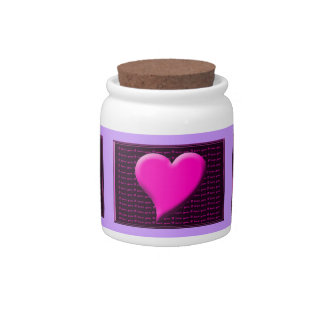 I Heart You/I Love You Pink/Purple Wedding Bride Candy Jar
