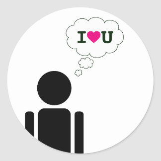 i heart you : love stick classic round sticker