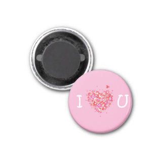 I Heart You - Pink & White 1 Inch Round Magnet