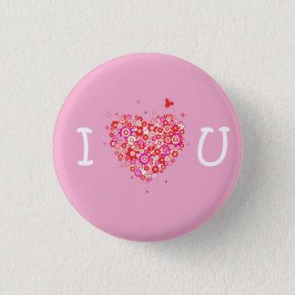 I Heart You - Pink & White Pinback Button