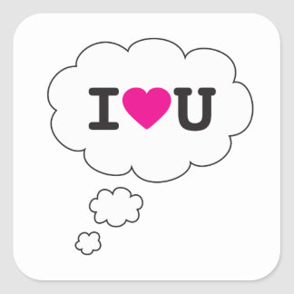 i heart you square sticker