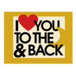 I heart you to the moon and back postcard