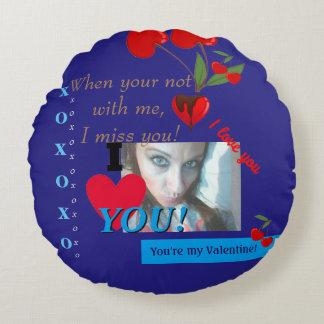I heart you Valentines Day Boyfriend Photo Round Pillow