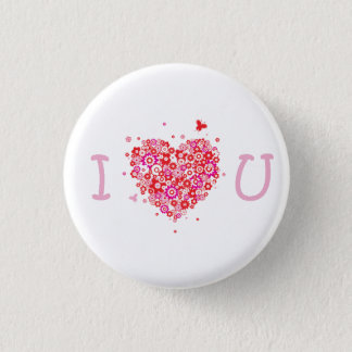 I Heart You - White & Pink Button