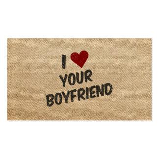 I Heart Your Boyfriend Burlap Business Card Template
