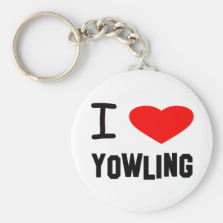I Heart yowling Basic Round Button Keychain