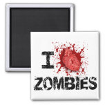 I Heart Zombies 2 Inch Square Magnet