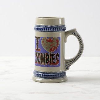 i heart zombies beer stein