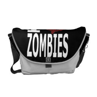 I Heart Zombies Black and Silver Messenger Bag