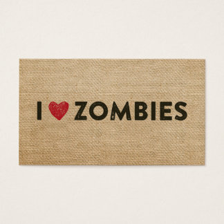 I heart Zombies Burlap Business Card