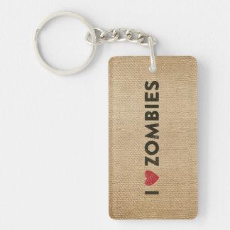 I heart Zombies Burlap Keychain