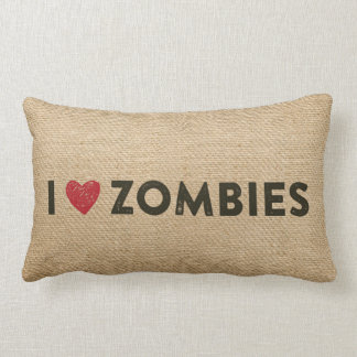I Heart Zombies Burlap Lumbar Pillow