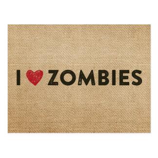 I heart Zombies Burlap Post Card