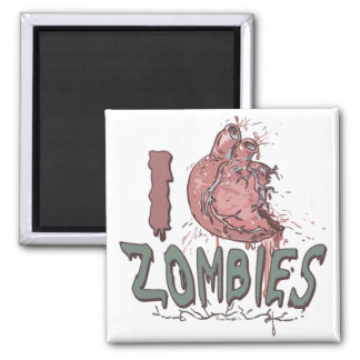 I Heart Zombies by Mudge Studios 2 Inch Square Magnet