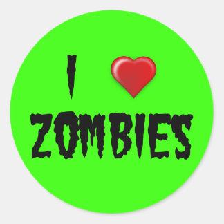I Heart Zombies Classic Round Sticker