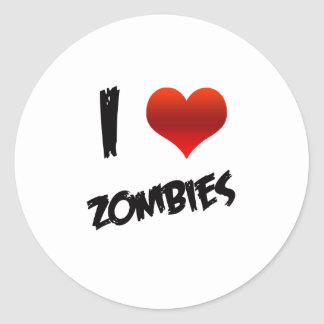 I Heart Zombies Classic Round Sticker