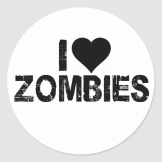 I [HEART] ZOMBIES CLASSIC ROUND STICKER