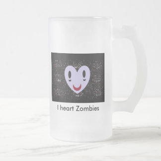 I heart Zombies Frosted Glass Beer Mug