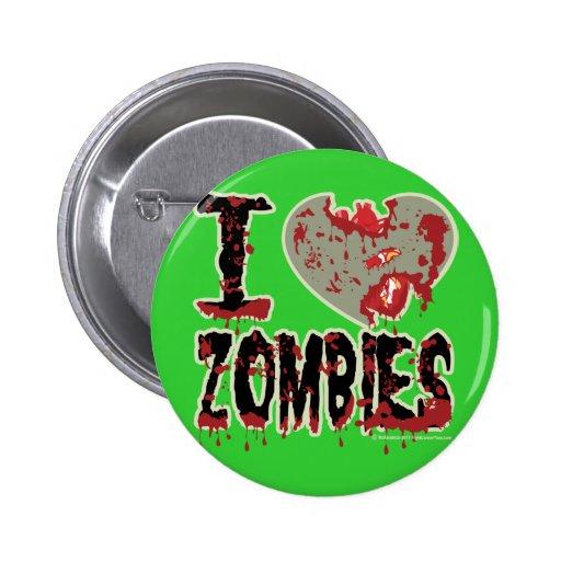 i heart zombies! green pin