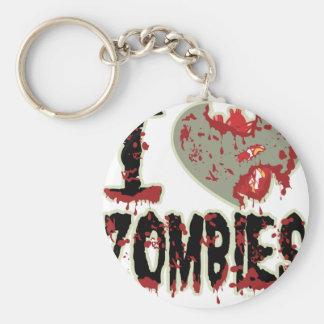 i heart zombies! basic round button keychain