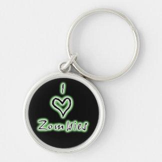 I heart zombies keychain (green)