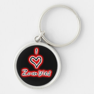 I heart zombies keychain (red)