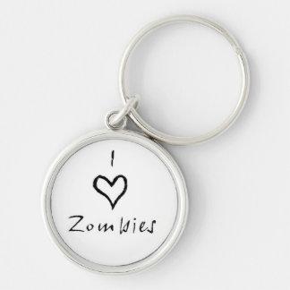 I heart zombies keychain (white)