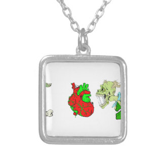 I Heart Zombies Square Pendant Necklace