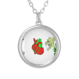 I Heart Zombies Round Pendant Necklace