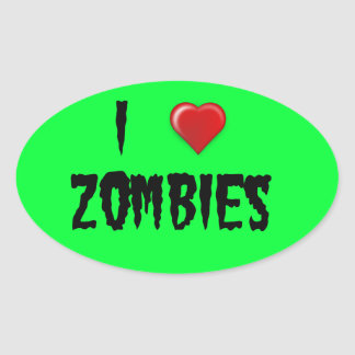 I Heart Zombies Oval Sticker