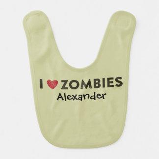 I Heart Zombies Personalized Bib