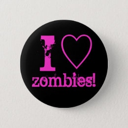 I heart zombies! pinback button