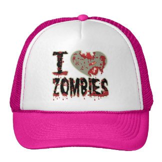 i heart zombies pink hat
