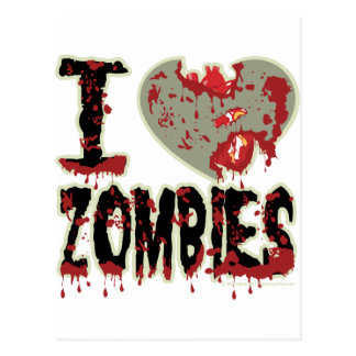 i heart zombies! postcard