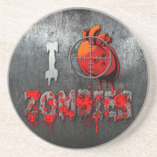I Heart Zombies Sandstone Coaster
