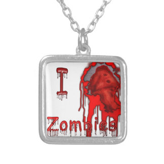 "I ""HEART"" Zombies Silver Plated Necklace"