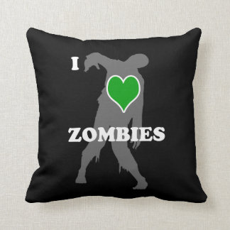I Heart Zombies Throw Pillow