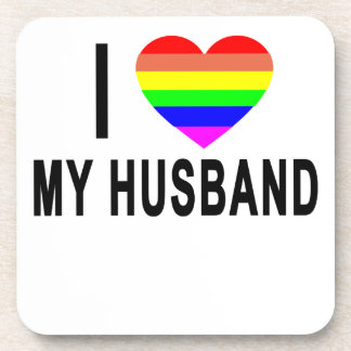I HEARTH RAINBOW LOVE GAY LESBIAN HUSBAND.png Drink Coaster