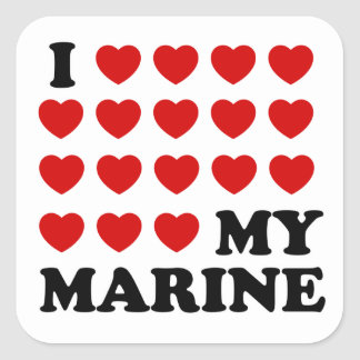 I (hearts) my marine square sticker