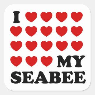 I (hearts) my Seabee Square Sticker