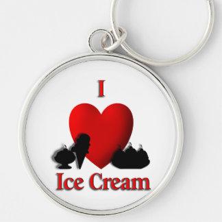 I helado del corazón llavero redondo plateado