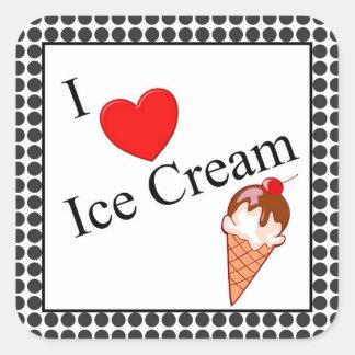 I helado del corazón pegatina cuadrada