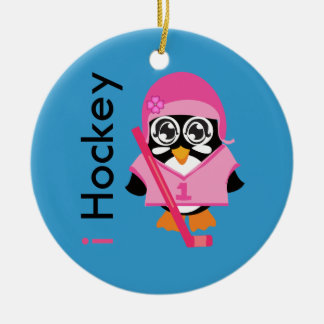 i Hockey Penguin Christmas Tree Ornament