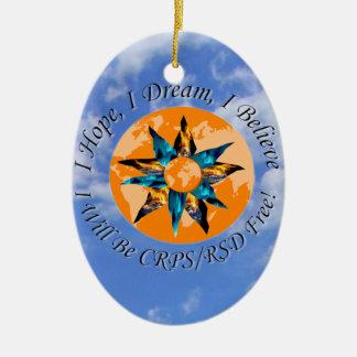 I Hope I Dream I Believe I will be CRPS RSD FREE L Double-Sided Oval Ceramic Christmas Ornament