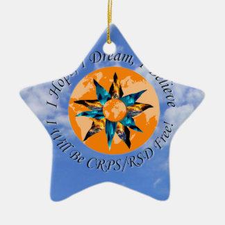 I Hope I Dream I Believe I will be CRPS RSD FREE L Double-Sided Star Ceramic Christmas Ornament