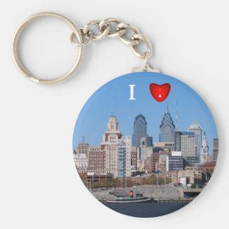 I horizonte de Philly del corazón, primer Llavero Redondo Tipo Pin
