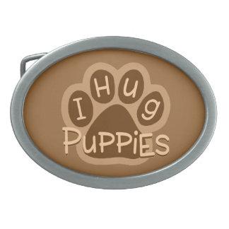 I Hug Puppies Oval Belt Buckle